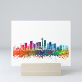 Seattle Skyline Watercolor by Zouzounio Art Mini Art Print