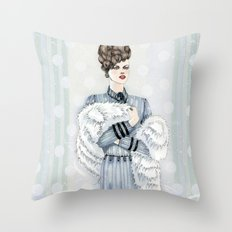 Woman with Fur  Throw Pillow