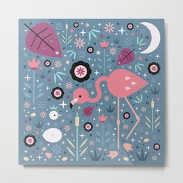 Flamingo & Chick Metal Print