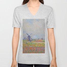 "Claude Monet ""Tulip Fields near The Hague"" Unisex V-Neck"