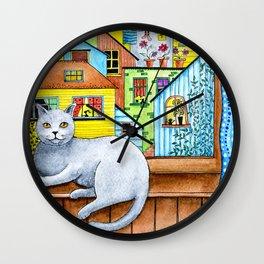 British Shorthair Cat at the Window Wall Clock