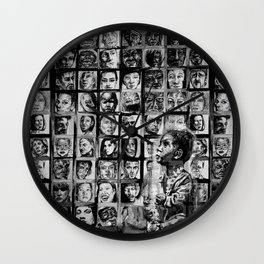 FACE IT - lullaby child - bw Wall Clock