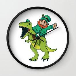 St Patricks Day Leprechaun Trex Dinosaur Kids Boys Wall Clock