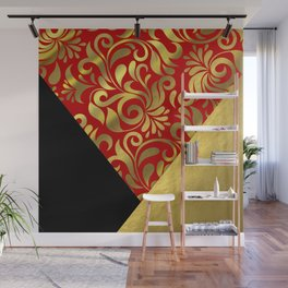 Gold Red Swirls with Triangle Flap Accents Wall Mural