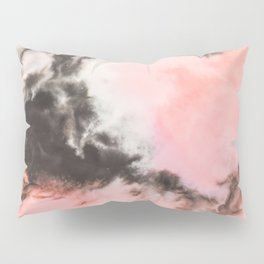 Pink and black marbled paper Pillow Sham