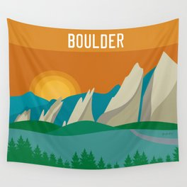 Boulder, Colorado - Skyline Illustration by Loose Petals Wall Tapestry