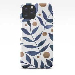 Watercolor berries and branches - indigo and beige iPhone Case