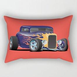 Vintage Hot Rod Car with Classic Flames Rectangular Pillow