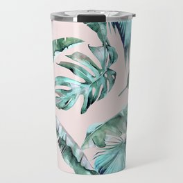 Tropical Palm Leaves Turquoise Green Coral Pink Travel Mug