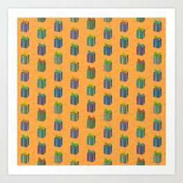 Presents pattern orange Art Print