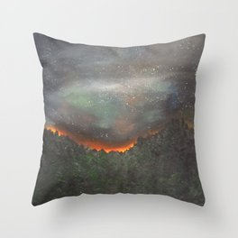 nightfall over forest Throw Pillow