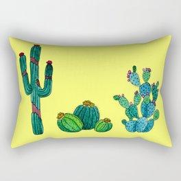 Gouache Watercolor cactus yellow background Rectangular Pillow