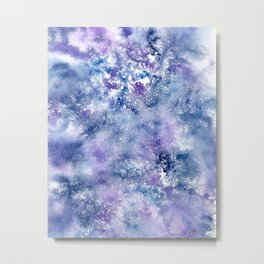 Blue and purple frost watercolor texture Metal Print