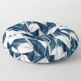 Bluish floral botanical 0I Floor Pillow