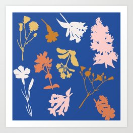 Wild Flower Silhouettes Art Print
