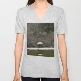 Snow at the Pond Unisex V-Neck