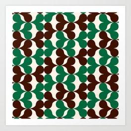 Retro heart pattern green & brown. Art Print
