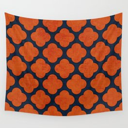 navy and orange clover Wall Tapestry