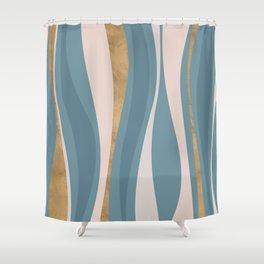 Blueprint Wavy Pattern 4 Shower Curtain