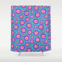 dahlia Shower Curtains featuring Dahlia by Bunyip Designs