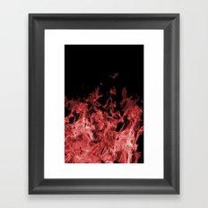 Red Flame on Black Framed Art Print