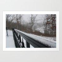 rileigh smirl Art Prints featuring Snowy Rail by Rileigh Smirl