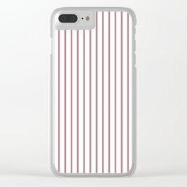 Princess Plum Pinstripe on White Clear iPhone Case
