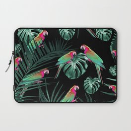 Parrots in the Tropical Jungle Night #1 #tropical #decor #art #society6 Laptop Sleeve