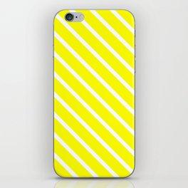 Neon Yellow Diagonal Stripes iPhone Skin