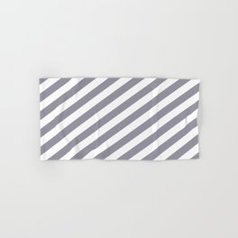 Pantone Lilac Gray & White Stripes Fat Angled Lines - Stripe Pattern Hand & Bath Towel