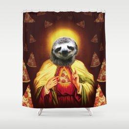 Holy Pizza Sloth Lord Jesus All over big print Animal Savior Shower Curtain