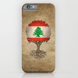 Vintage Tree of Life with Flag of Lebanon iPhone Case