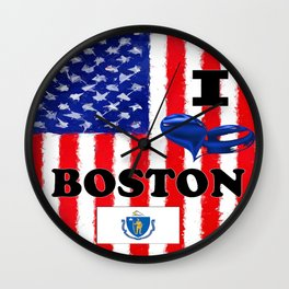 I Love..........Boston Wall Clock