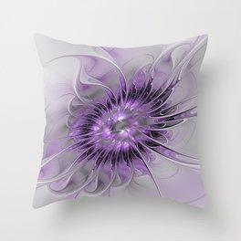 Lilac Fantasy Flower, Fractal Art Throw Pillow