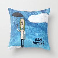 iggy Throw Pillows featuring Iggy Poppins by Levedad