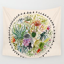 Succulents Mandala Wall Tapestry