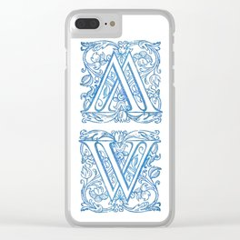 Letter W Elegant Vintage Floral Letterpress Monogram Clear iPhone Case