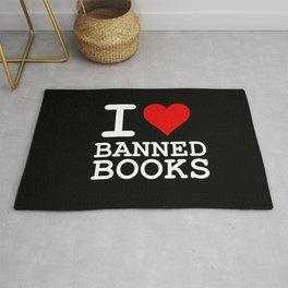 I Heart Banned Books (On Black) Rug