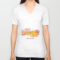 las vegas V-neck T-shirts featuring Las Vegas Nevada Skyline  by jbjart