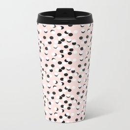 Hand drawn white and black drops and dots on pink Metal Travel Mug