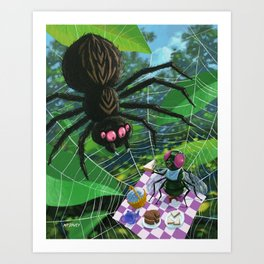 fly having picnic in spider web with big spider Art Print