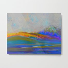 Clouds Rolling In Abstract Landscape Purple and Teal Metal Print