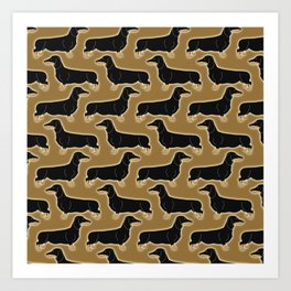 Cute pattern of miniature dachshund dogs in classic colors of black and tan Art Print