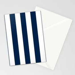 Oxford blue - solid color - white vertical lines pattern Stationery Cards