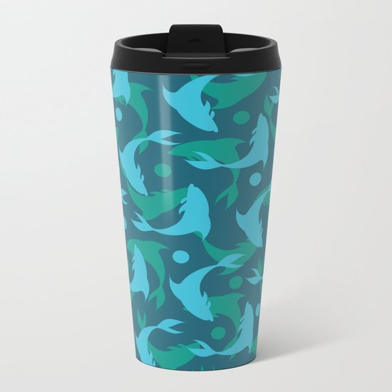 dolphins in blue Metal Travel Mug