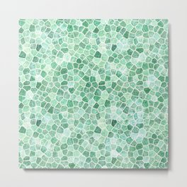 Muddled Puddles Pale Aqua Ocean Patchwork Metal Print