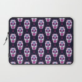 Sugar skull pattern. Mexican Day of the dead graphic. Laptop Sleeve