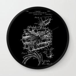 Jet Engine: Frank Whittle Turbojet Engine Patent - White on Black Wall Clock