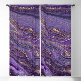 Purple Marble Glitter Gold Fluid Painting Pouring Jupiter Surface Glamorous Shiny Metallic Accents Blackout Curtain
