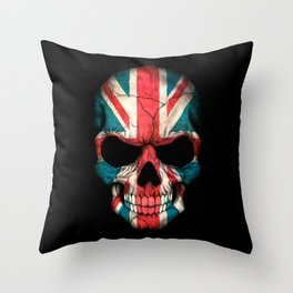 British Flag Skull on Black Throw Pillow